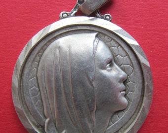 On Sale Virgin Mary Religious Medal Lourdes Vintage Silver Religious Medal Pendant    SS159