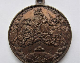 Jesus Saint Margaret Mary Alacoque Apparition Of  The Sacred Heart Antique Religious Medal Angels Pendant Signed Penin Dated 1862  SS231