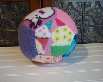 Large Soft Safe Fleece Ball for Baby and Toddler Girls, Mixed Prints Lime, Blue, Yellow, Pink, Flowers, Toddler or Baby Soccer Ball Toy