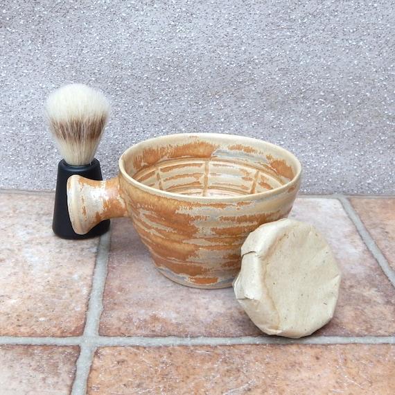 Shaving lather bowl shave pot wheelthrown in stoneware soap dish handmade pottery ceramic
