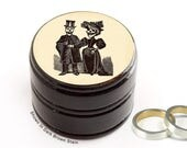 Day of the Dead Bride and Groom Pill Box - Skull Couple Vitamin Box - Skull Wood Ring Box - Day of the Dead Ring Box - Wedding Rings Box