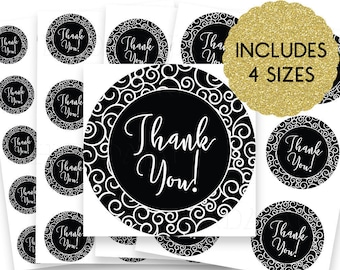30% OFF SALE Thank You Stickers - Thank You Tags -  Thank You Labels - Round Thank You Stickers - Small Thank You Tags - Classy Black Swirls