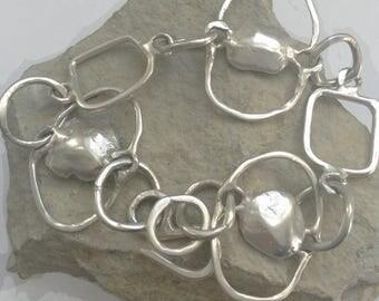 Large Link 925 Sterling Silver Bracelet with Cast Gem Centres