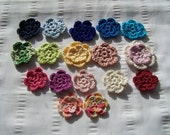 Crocheted flower 1.5 inch set of 17 flowers flower motif assorted colors Clearance