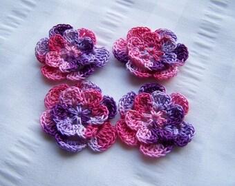Crochet motif set of 4 flowers 1.5 inch girly girl embellishment crochet flower