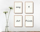 Holiday sale Any 4 art prints, pick your four art prints, Watercolor prints, mini Art collection, kitchen art, nursery decor, wild life, int