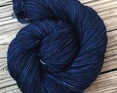 Hand Dyed Sock Yarn Fathoms Deep Hand Painted sockyarn 463 yards hand dyed dark navy blue fingering weight Treasured Toes swm midnight blue