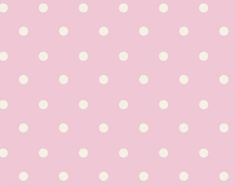Pink Polka Dotted Fabric Baby Girl Nursery Fabric - Nursery Rhyme Pink Dots by Springs Creative - By the Yard