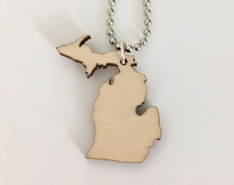 Wooden Small Michigan Necklace with Upper and Lower Peninsulas, State Jewelry, Michigan Jewelry, Lasercut Wood Necklace