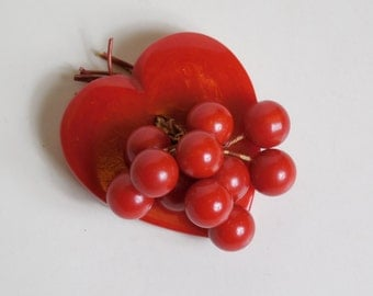 1930 1940 Large Vintage Bakelite Red Heart with Cherries Cherry Pin Brooch Rare