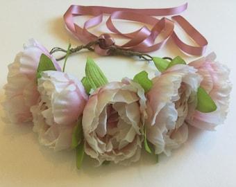 Pink peony flower crown.
