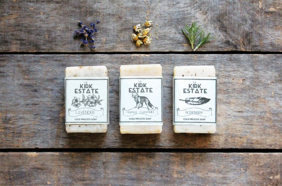 3 Small Bars, cold process soap, handmade soap, soap gift set, organic ingredients, lightly scented, eco friendly, natural soap, vegan