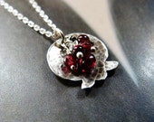 Pomegranate necklace garnet silver pendant, handmade jewelry, Valentines day gift, affordable, gift under 50, 50th bithday gift