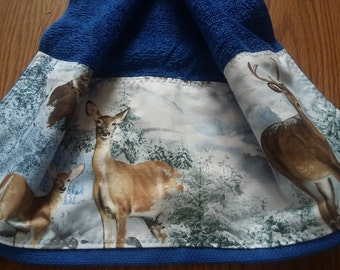 Blue Whitetailed deer Kitchen Towel with a fabric top, kitchen towel, hanging kitchen towel