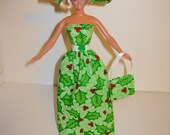 Handmade Barbie clothes - Beautiful Christmas gown with hat and bag 4 barbie doll