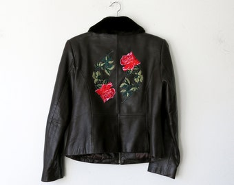Rose Jacket / Brown Leather Jacket / Patch Jacket /  Leather Bomber Jacket Sz M