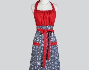 SALE Cute Kitsch Retro Aprons . Womens Full Chef Vintage Kitchen Cooking Apron Santas and Snowflakes Handmade Hostess Womans Apron