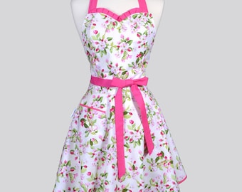 Sweetheart Womens Retro Apron - Spring Apple Blossom Pink and Green Floral Cute Flirty Vintage Style Pin Up Kitchen Woman Apron