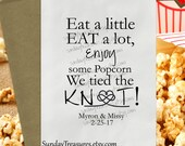 12 PAK WeDDING Popcorn Bags / We Tied The Knot / Infinity Knot / Popcorn Buffet Favor  Bag / Nautical Beach / BLACK / PERSoNaLIZED