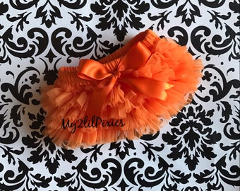 Baby Bloomer with Satin Bow, Orange Ruffle Bloomer, Ruffle Bottom Bloomer , Diaper Cover, Newborn , Infant, Bloomers , baby gift