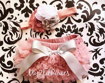 Baby Bloomer and Headband- baby set- Ruffle Bum Baby Bloomer with satin bow- baby headband- vintage pink - grey- white- chiffon ruffle