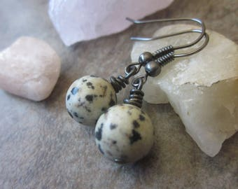 Spotted Orb Earrings, Speckled Natural Gemstone, Dalmation Jasper Rounds, Cream & Black, Neutral Colors, Canadian Seller, Philosophia