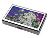Mother of Pearl Purple Flower 100S King Size 16 Cigarette Engraved Metal RFID Blocking Credit Business Card US Bill Cash Holder Case Wallet