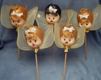 Christmas Angel Veil Tinsel Doll Head Picks Sticks Decorations Floral  Japan