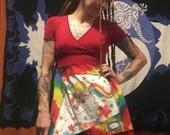 Rainbow Brite babydoll dress top upcycled oisk fun vintage patchwork