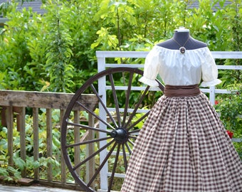 Girls Civil War Pioneer Colonial Plaid or Gingham Skirt with Blouse and Sash