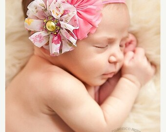 30% OFF SPRING SALE Pink Headband,Twirl, Vintage, Floral, Baby Headband, Infant Headband, Newborn Headband, Flower Girl, Wedding, Baby Showe