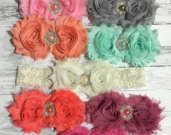 30% OFF SPRING SALE Pink Lace Headband, Silver, Pearl, Easter, Baby Headband, Infant Headband, Newborn Headband, Flower Girl, Easter, Baby S