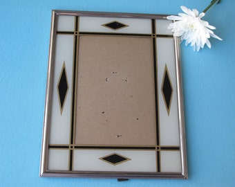 Art Deco Picture Frame Reverse Painted Cream Gold & Black Geometric c. 1920's Easel Back