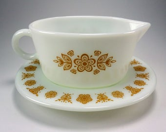 PYREX Butterfly Gold Gravy Server with Under-Plate, Orange Brown Tone, 1977-1981
