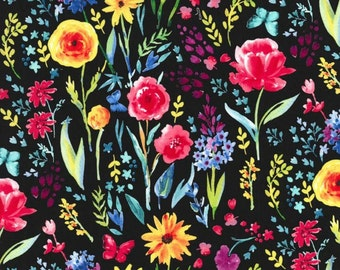 Michael Miller - Garden Party Collection - Meadow Menagerie in Black