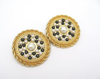 Vintage Clip On Earrings LISA VIOLETTO Big Statement Black and White Faux Pearl Goldtone Clips