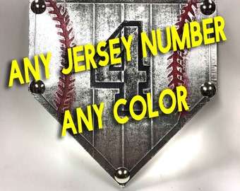 Buy one similar Any jersey number and color Baseball Home Plate Custom Painted Painting Faux Metal Art Ready To Hang Trophy Award Coach