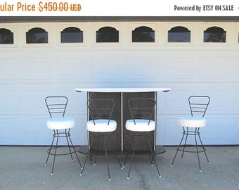 ON SALE Mid Century Bar and Barstools, Black and White, Modern