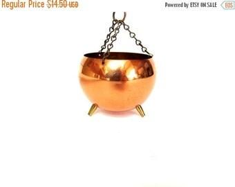 ON SALE Vintage Copper Cauldron, Mini Size, Hanging, Coppercraft Guild