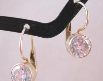 XMAS SALE 1.25ct CZ Cubic Zirconia Sterling Silver Drop Earrings Lever Back Vintage Jewelry Jewellery
