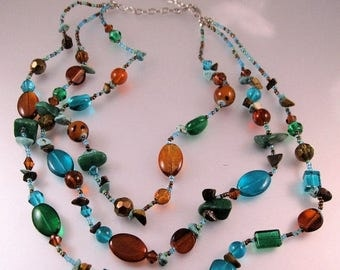 """SALE ON Ends 4/30 Genuine Turquoise Nugget & Art Glass Necklace Three Multi Strand 19.5"""" Vintage Jewelry Jewellery"""