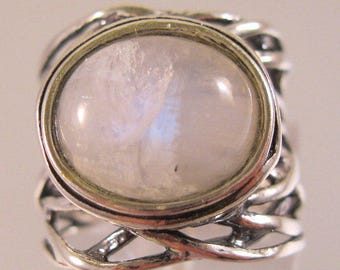 Israel Designer Shablool Didae Moonstone Sterling Silver Ring Size 5 Estate Jewelry Jewellery