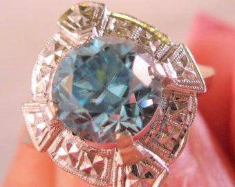 Art Deco 10k Blue Spinel Ring 8.7mm Diameter Size 6.75 Vintage Jewelry Jewellery