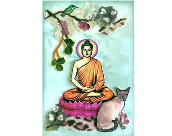 buddha asian cat meditation peaceful nature orange green gotagt team mixed media cat portrait OOAK collage