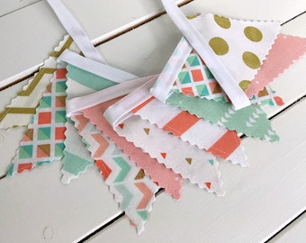 Bunting Banner Mini, Fabric Banner Flags, Photography Prop, Nursery Decor, Coral Pink, Mint Green, Gold, Aztec Nursery, Tribal Nursery