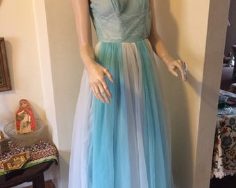 Vintage 50s Sky Blue White Chiffon Full Skirt Fairy Tale Ballerina Evening Ballgown Prom Dress Size X Small