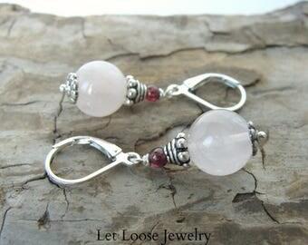 Rose quartz earrings, genuine rose quartz garnets sterling silver, pale pink red stones, leverbacks, handmade, Let Loose Jewelry, under 50
