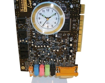 "Alarm Clock from Recycled ""Sound Blaster"" Circuit Board. Got Geek Gift?"