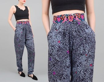 80s Pants Abstract Animal Print Pants High Waist Ethnic Boho Pleated Trousers Vintage Tapered Pants Small S LONG