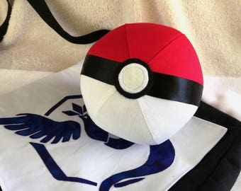 "NEW! 5.5"" Round Plush Pokeball Toy, Pokemon Go inspired!  Ready to Ship! Hand made, applique."